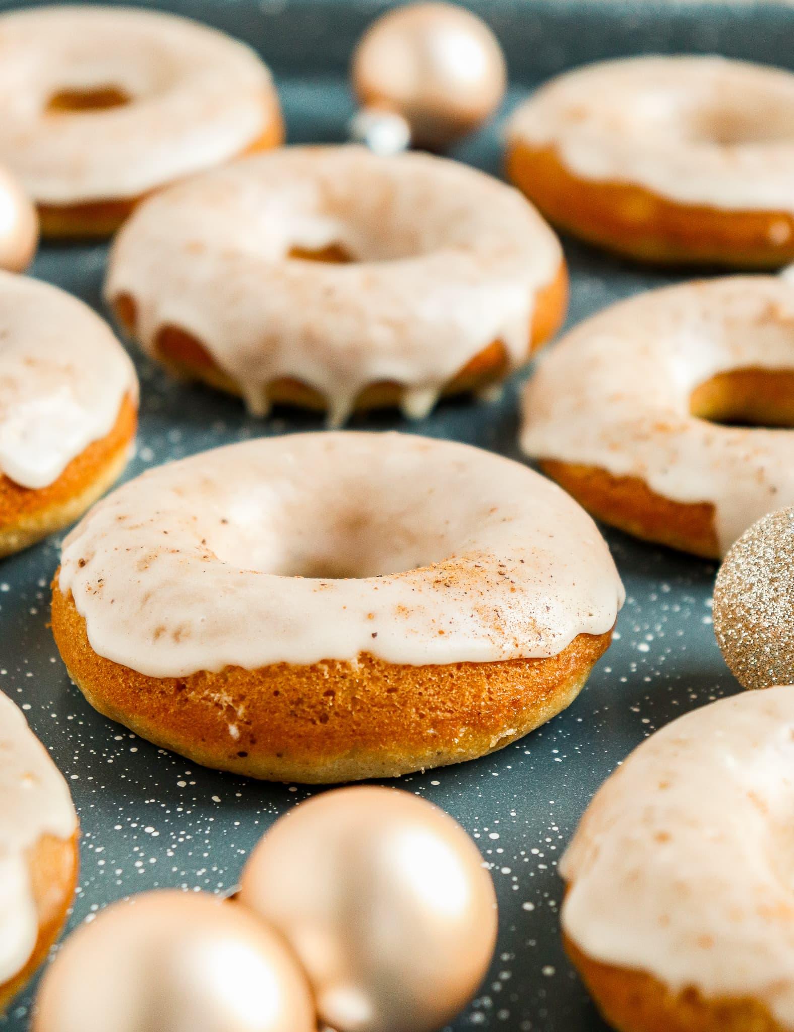 eggnog doughnuts with glaze on top