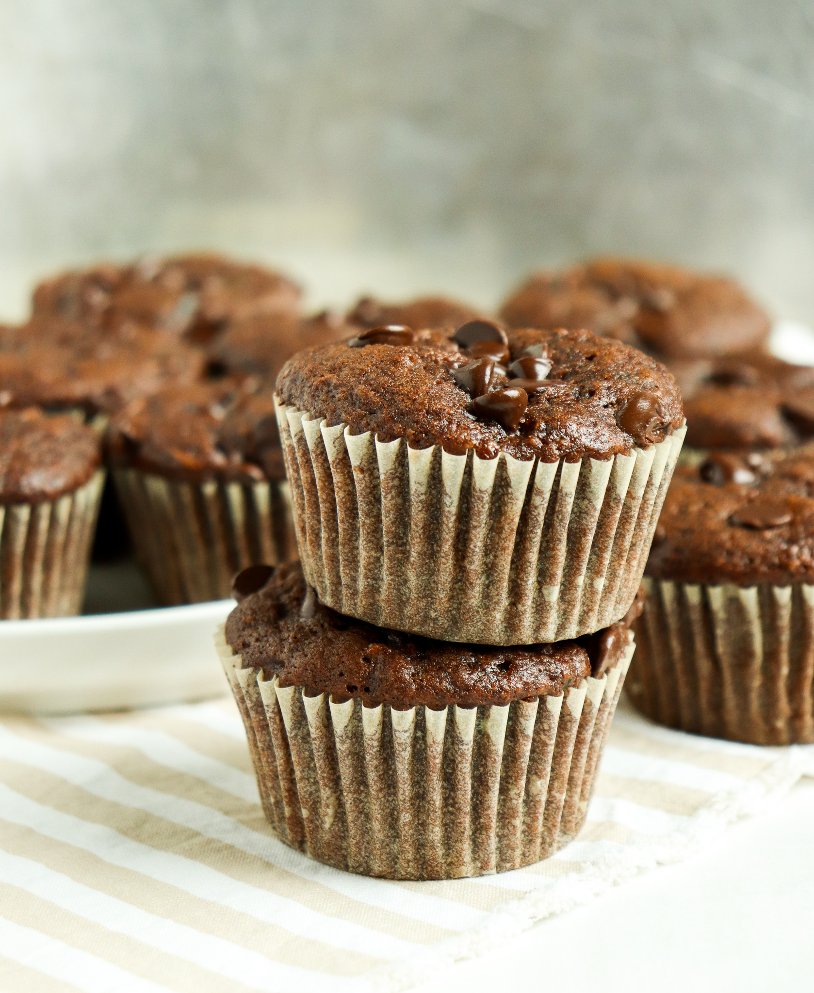 stack of double chocolate zucchini muffins